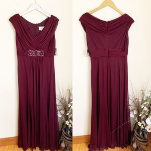 NWT David's Bridal ruched v neck a line gown wine